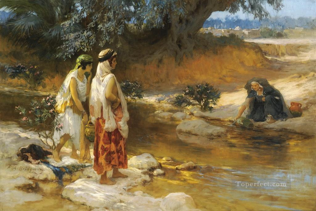2726e4cc61f AT THE WATERs EDGE Frederick Arthur Bridgman Painting in Oil for Sale