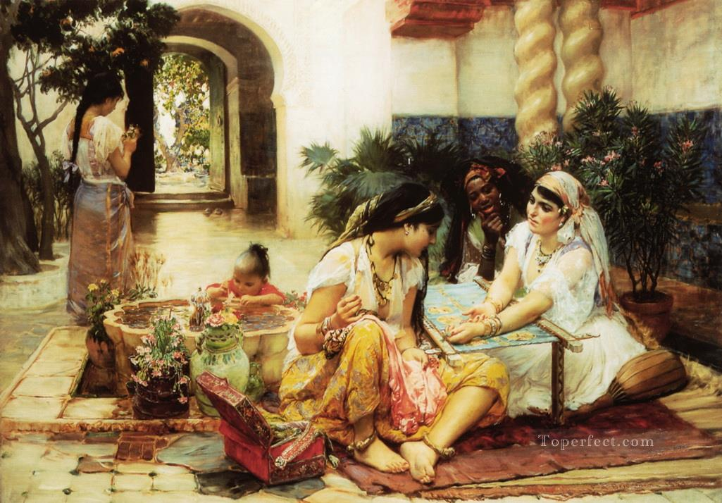 In a Village El Biar Algeria Frederick Arthur Bridgman Oil Paintings