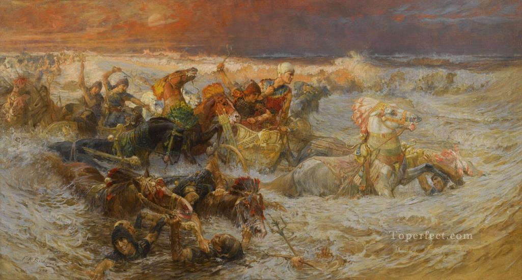 Pharaoh Army Engulfed By The Red Sea Frederick Arthur Bridgman Oil Paintings