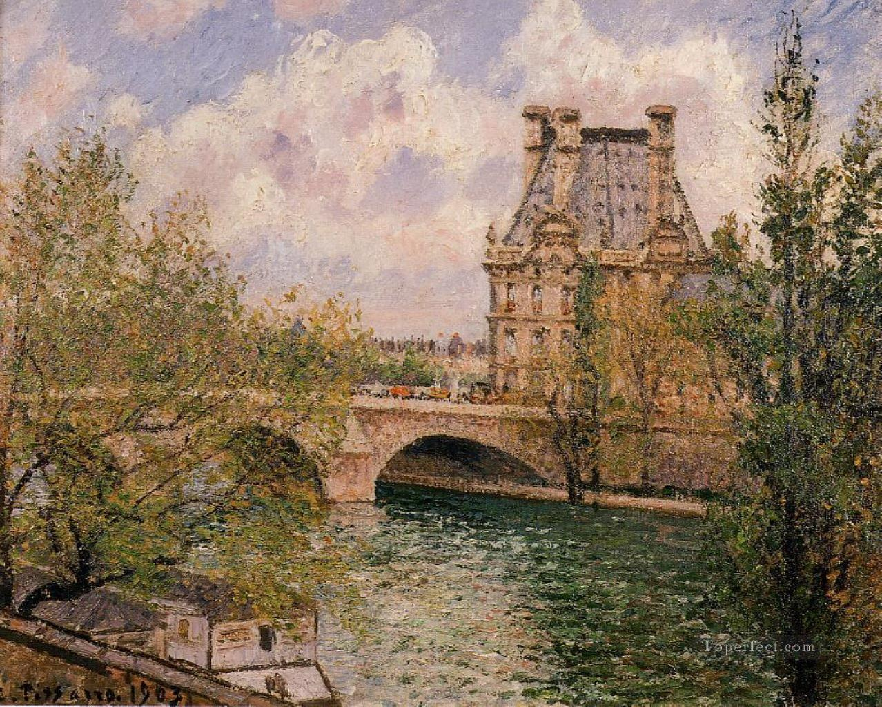 the pavillion de flore and the pont royal 1902 Camille Pissarro Oil Paintings