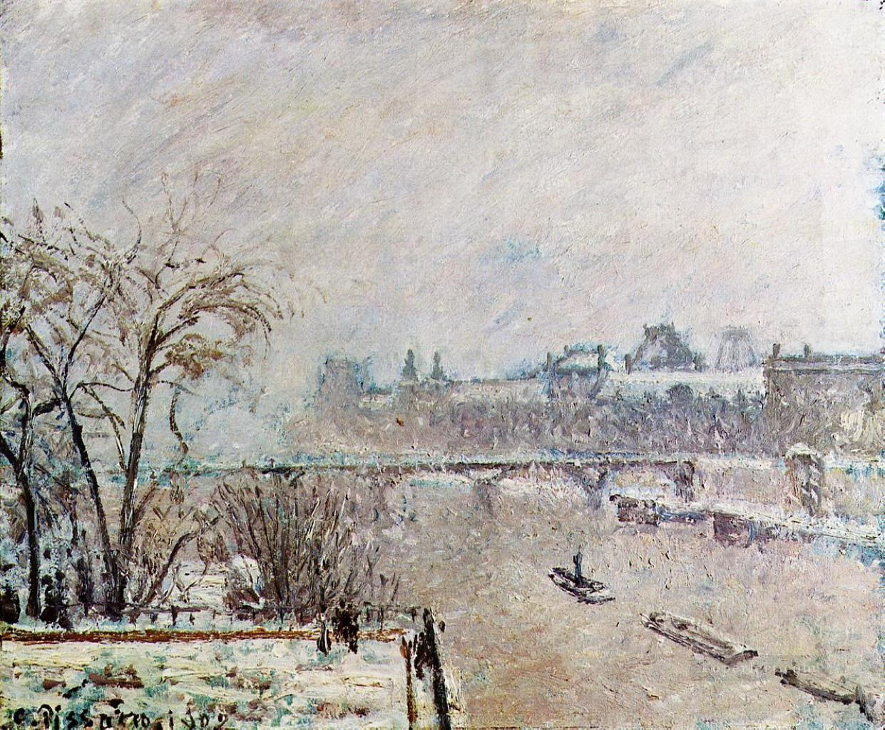 the seine viewed from the pont neuf winter 1902 Camille Pissarro Oil Paintings
