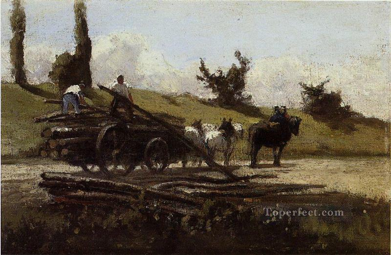 the wood cart Camille Pissarro Oil Paintings