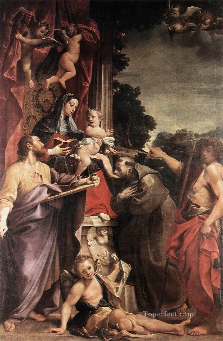Madonna Enthroned with St Matthew Baroque Annibale Carracci Oil Paintings