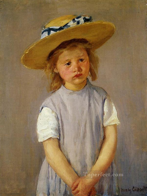 Little Girl in a Big Straw Hat and a Pinnafore mothers children Mary Cassatt Oil Paintings