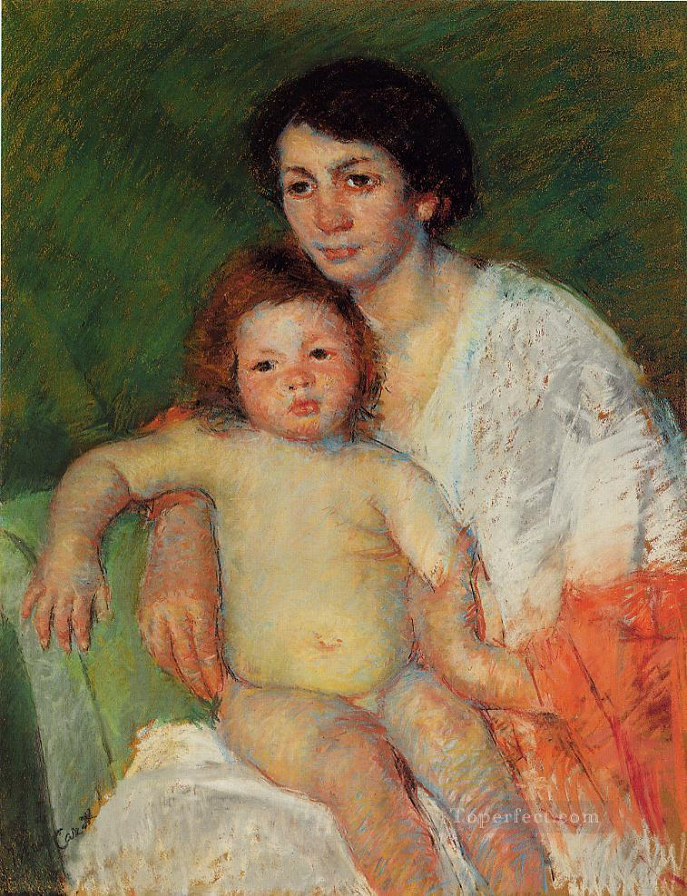 Nude Baby on Mothers Lap Resting Her Arm on the Back of the Chair mothers children Mary Cassatt Oil Paintings