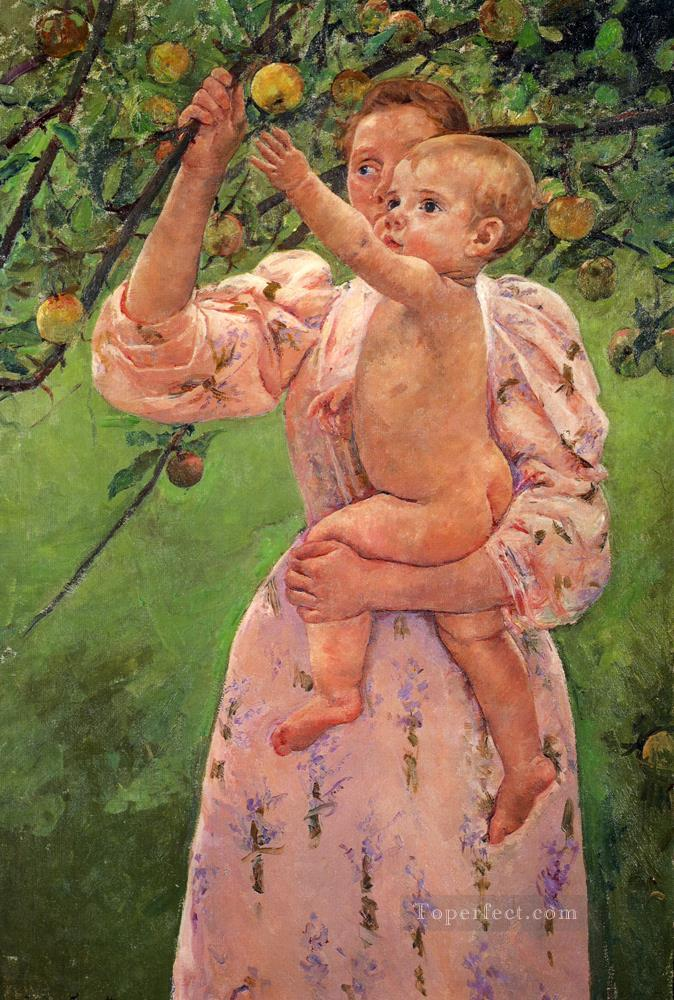 Baby Reaching For An Apple mothers children Mary Cassatt Oil Paintings