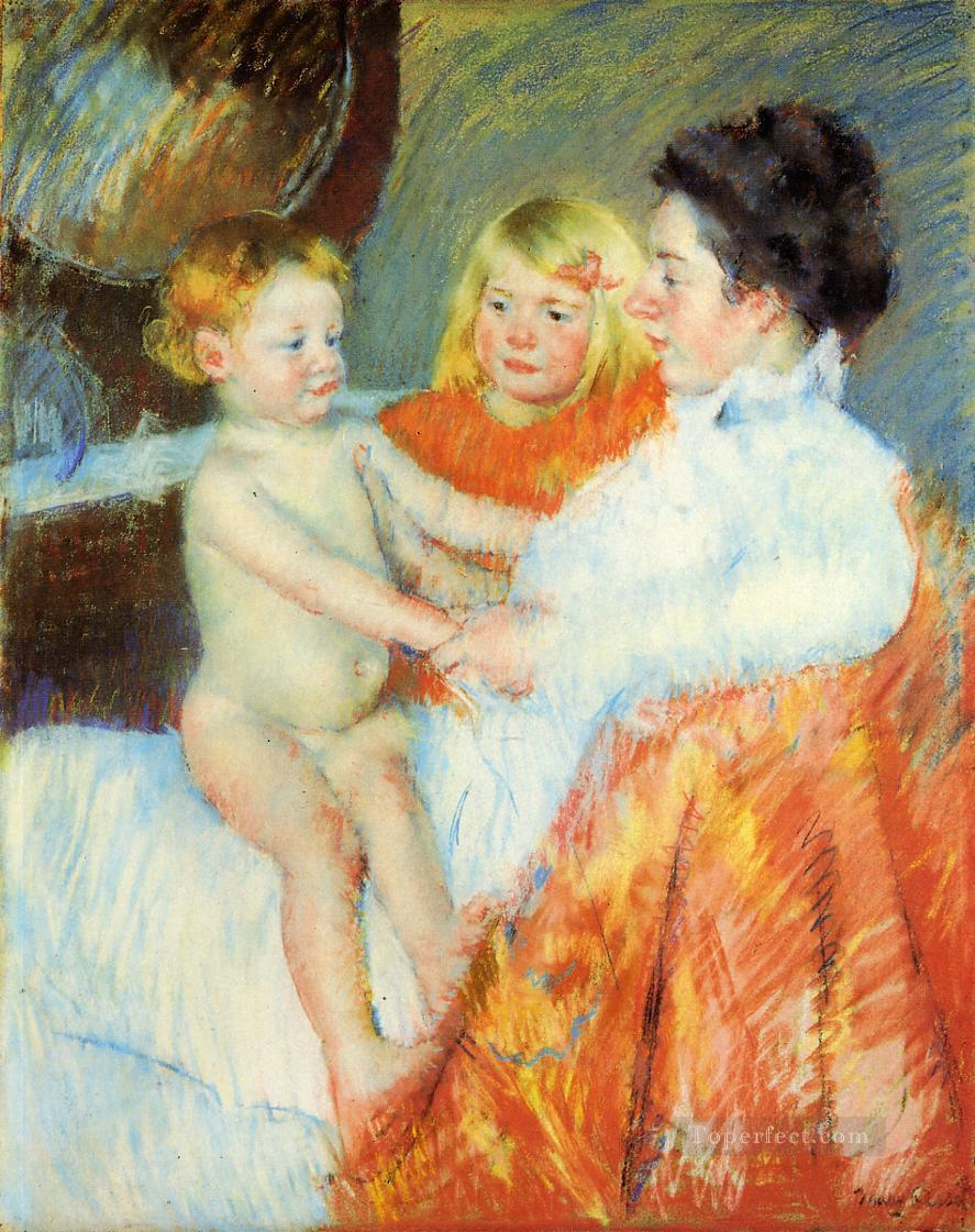 Mother Sara and the Baby mothers children Mary Cassatt Oil Paintings