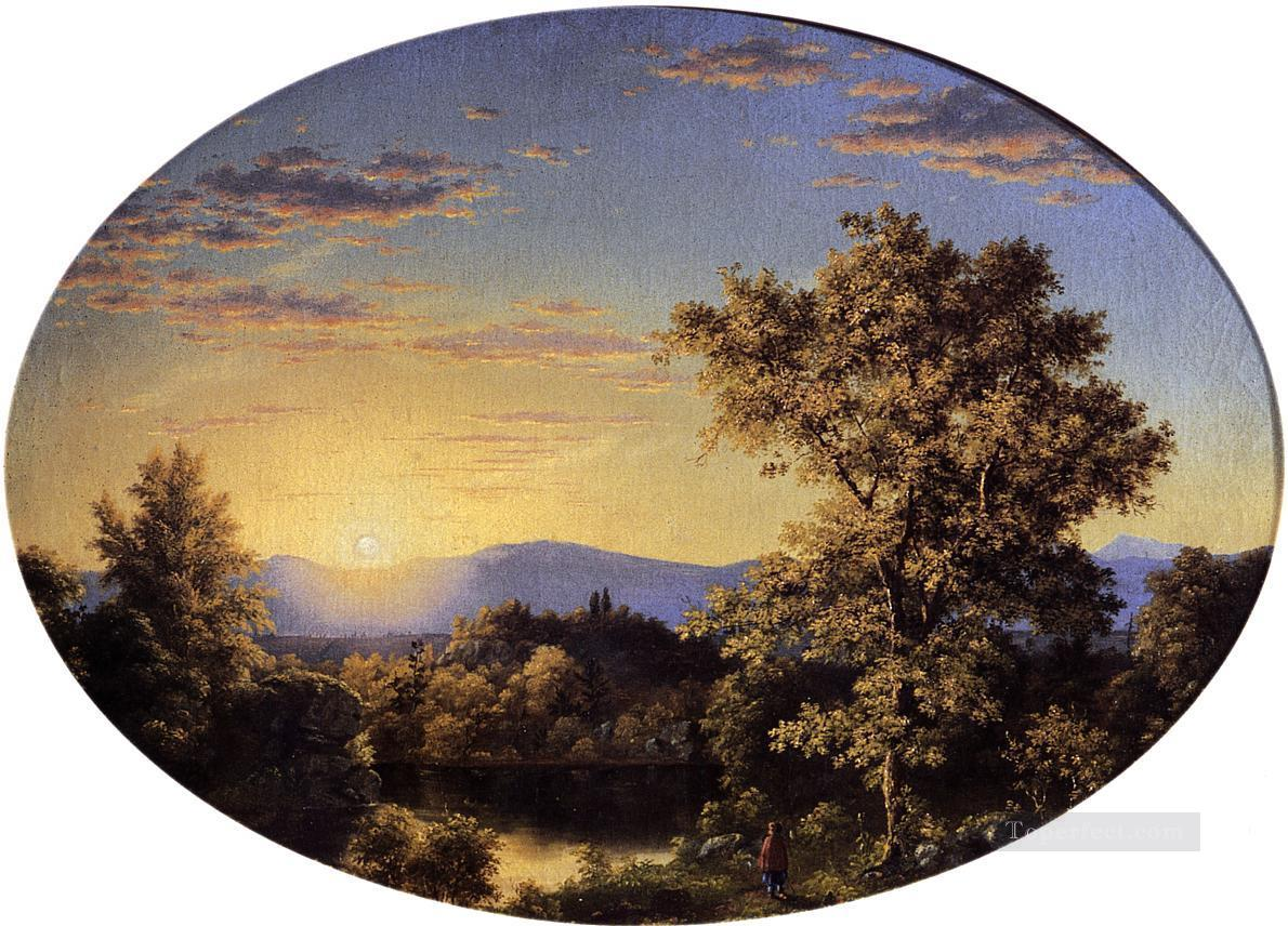 Twilight among the Mountains scenery Hudson River Frederic Edwin Church Oil Paintings