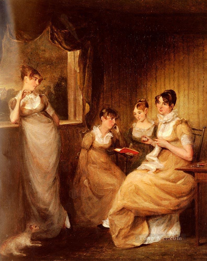 Ladies From The Family Of Mr William Mason Of Colchester Romantic women John Constable Oil Paintings