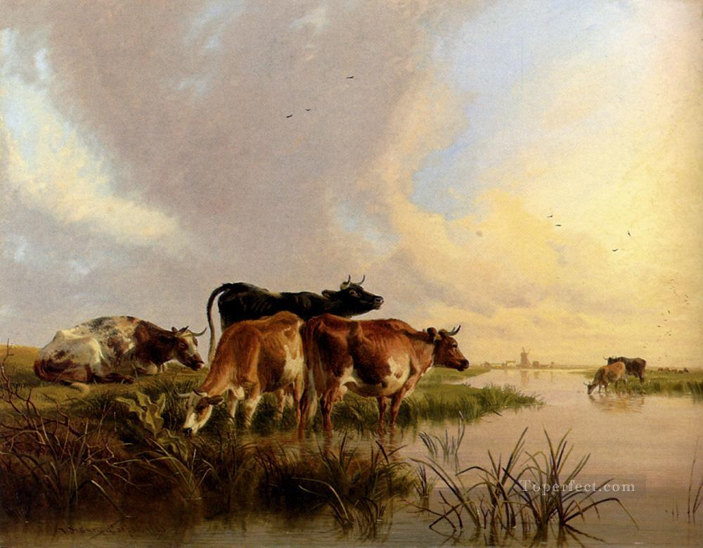 Cattle Watering farm animals cattle Thomas Sidney Cooper Oil Paintings