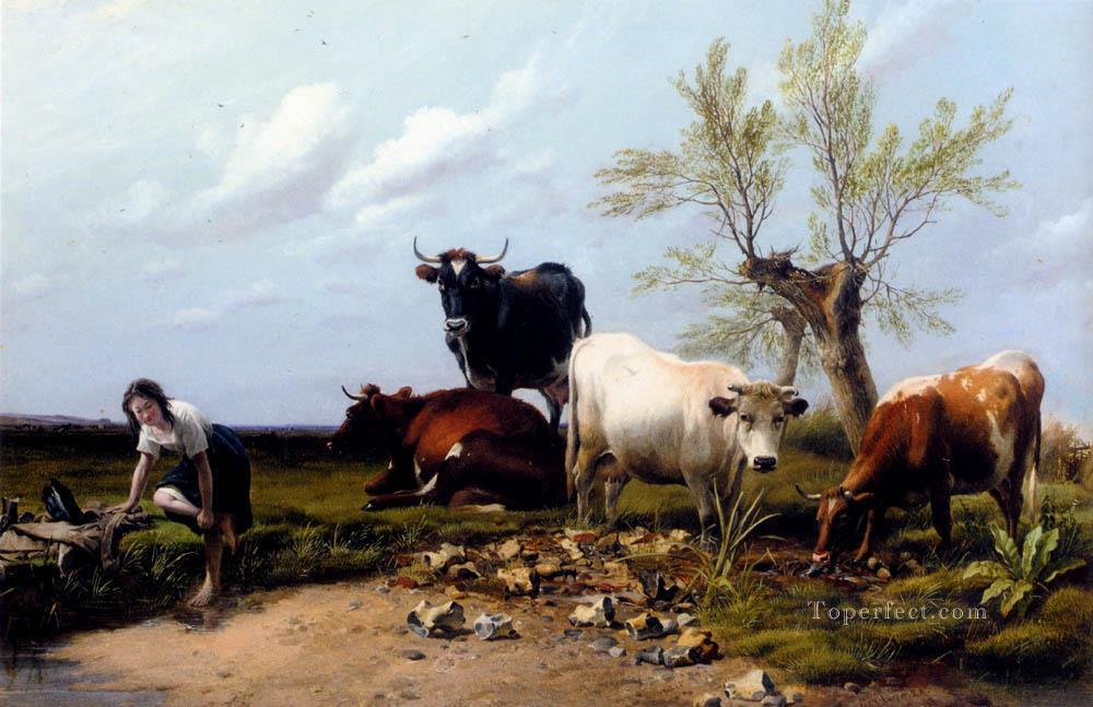 The Rustic Foot Bath farm animals cattle Thomas Sidney Cooper Oil Paintings