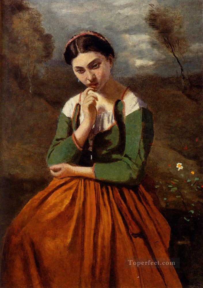 Corot La Meditation plein air Romanticism Jean Baptiste Camille Corot Oil Paintings