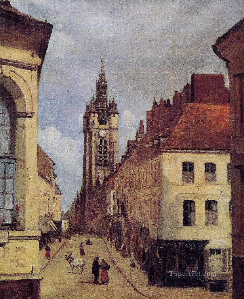 The Belfry of Douai plein air Romanticism Jean Baptiste Camille Corot Oil Paintings