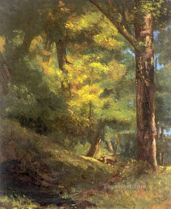 Deux Chevre Uils Dans la Foret Realist painter Gustave Courbet Oil Paintings
