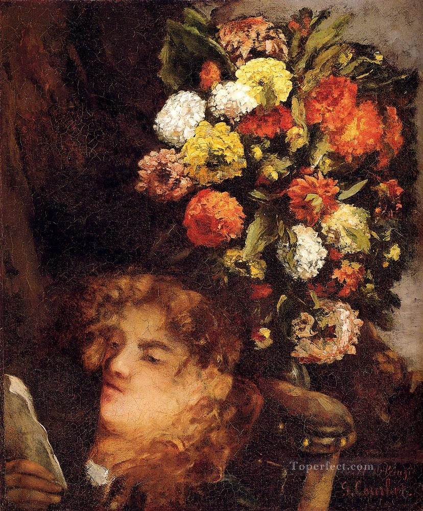 Head Of A Woman With Flowers Realist Realism painter Gustave Courbet Oil Paintings