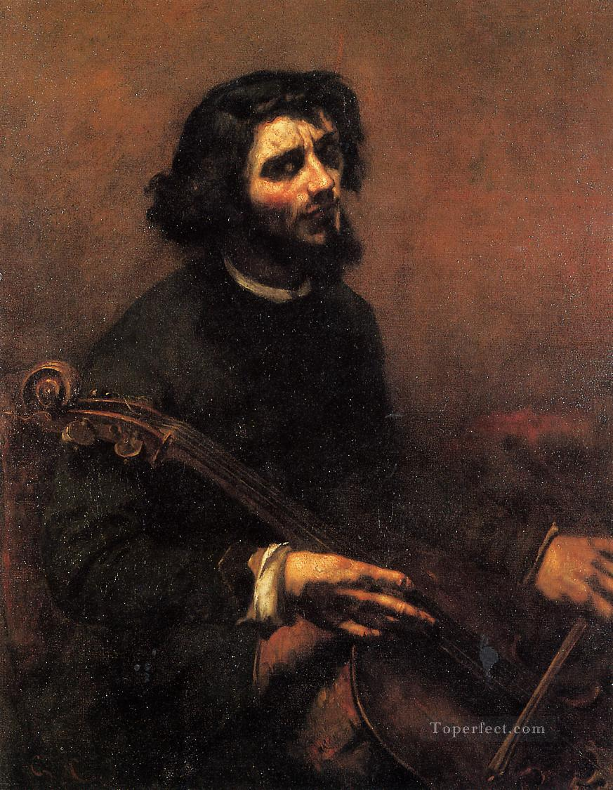 The Cellist Self Portrait Realist Realism painter Gustave Courbet Oil Paintings