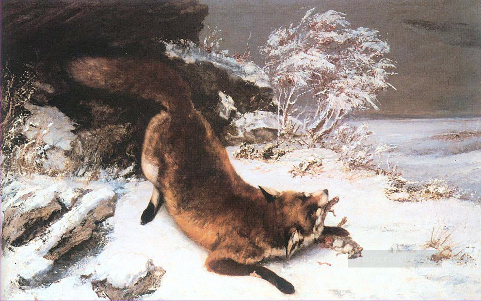 The Fox in the Snow Realist Realism painter Gustave Courbet Oil Paintings