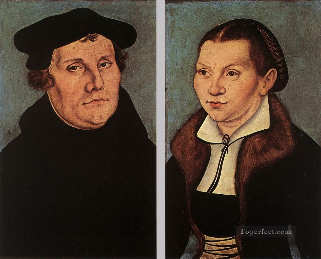 Portraits Of Martin Luther And Catherine Bore Renaissance Lucas Cranach the Elder Oil Paintings
