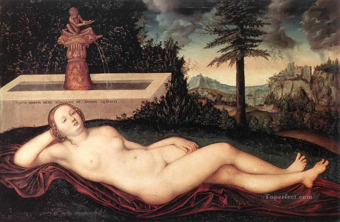 Reclining River Nymph At The Fountain Lucas Cranach the Elder Oil Paintings