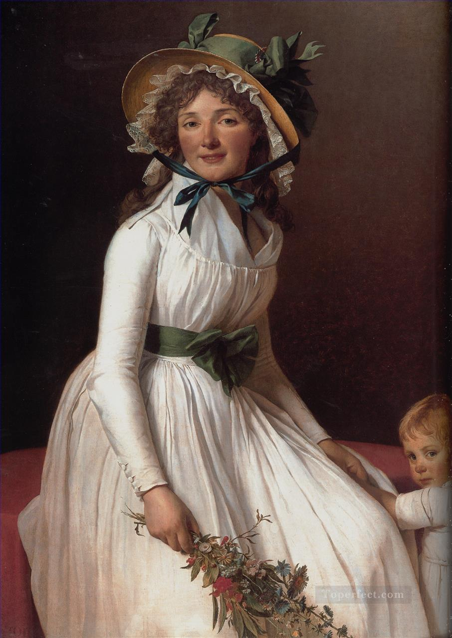 Portrait of Emilie Serizait and Her Son Neoclassicism Jacques Louis David Oil Paintings
