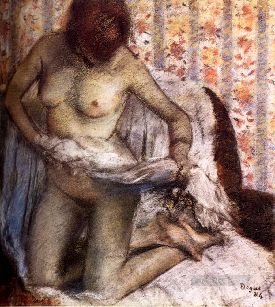 After The Bath 1884 nude balletdancer Edgar Degas Oil Paintings