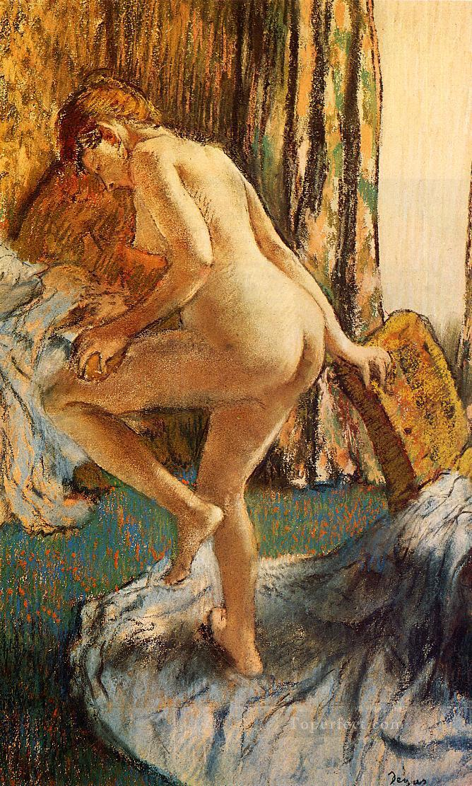 After the Bath 2 nude balletdancer Edgar Degas Oil Paintings