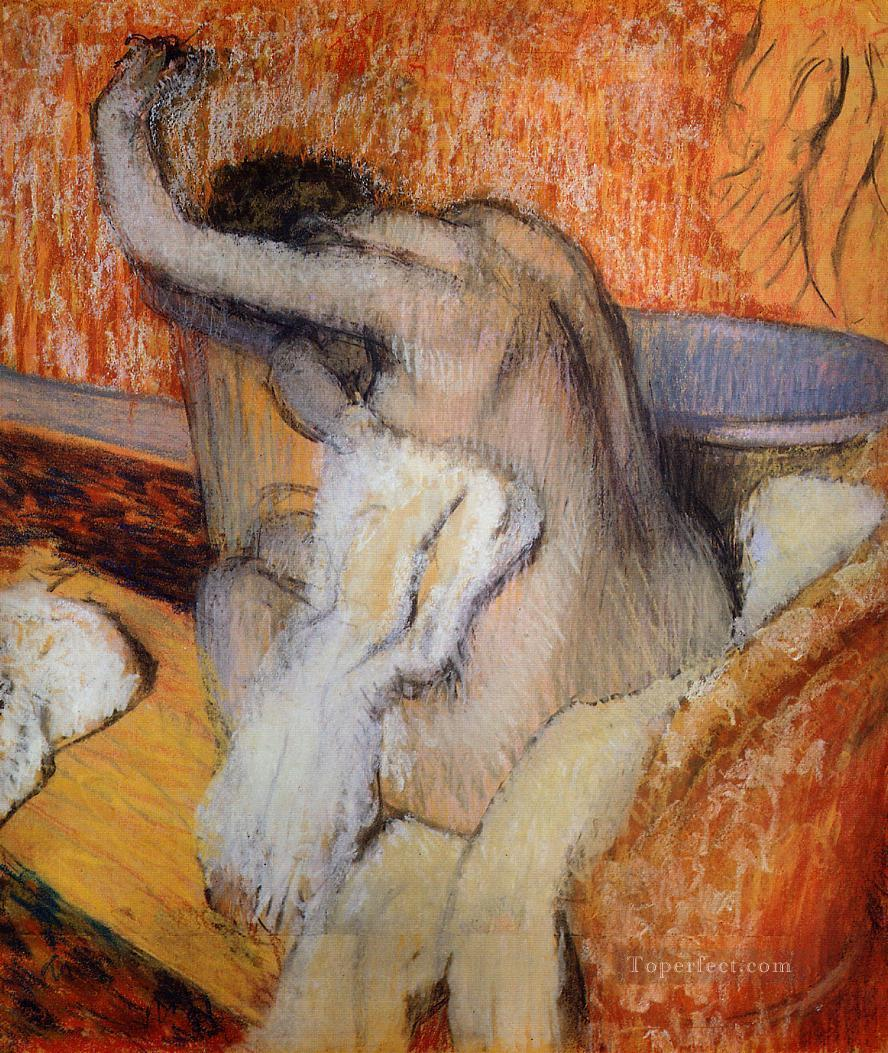 After the Bath Woman Drying Herself nude ballet dancer Edgar Degas Oil Paintings