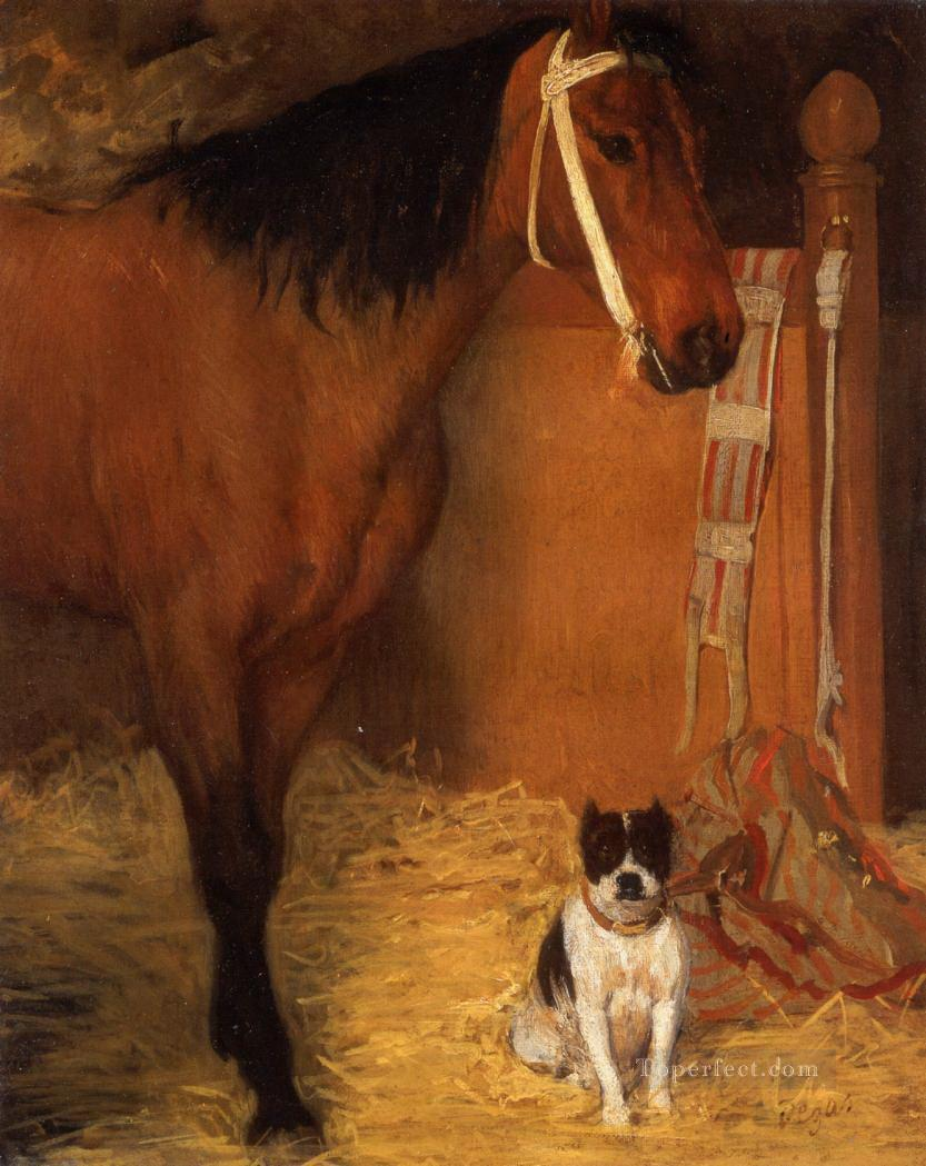 at the stables horse and dog Edgar Degas Oil Paintings