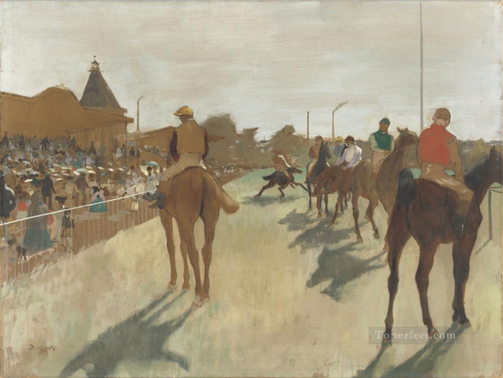 Racehorses in Front of the Grandstand Edgar Degas Oil Paintings