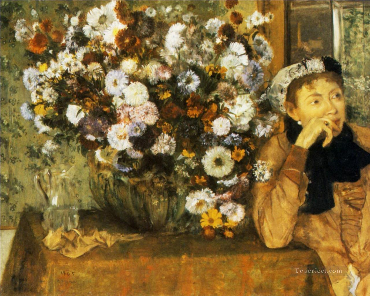 a woman seated beside a vase of flowers 1865 Edgar Degas Oil Paintings