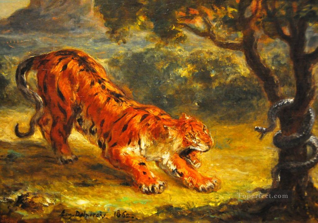 tiger and snake 1862 Eugene Delacroix رسم زيتي