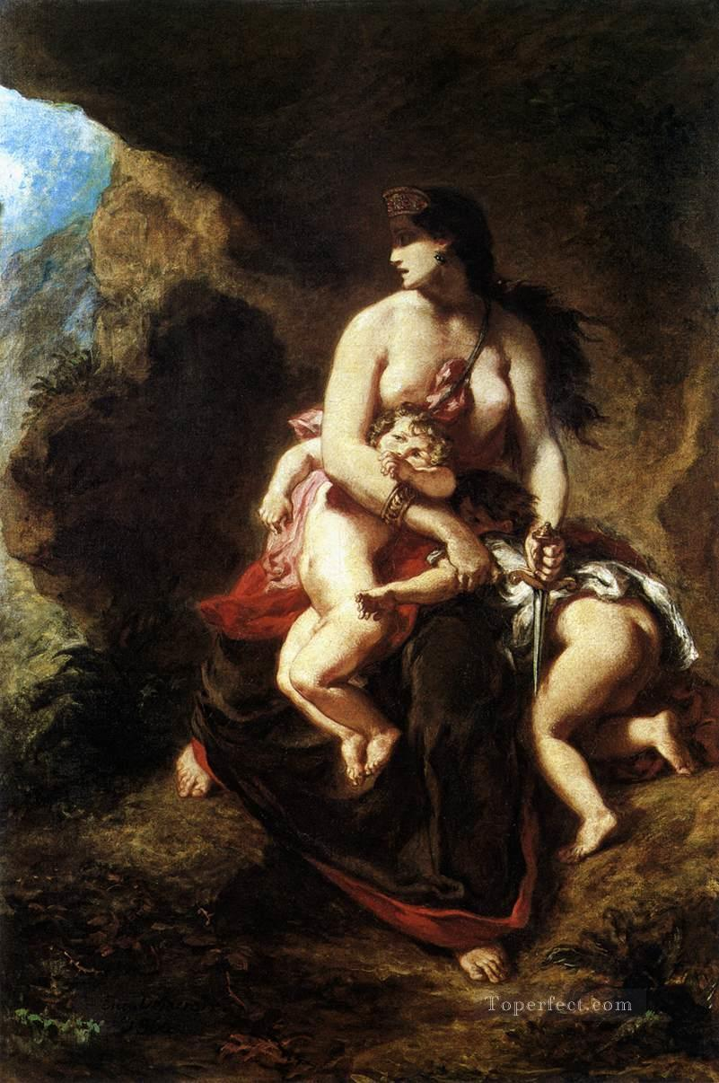 Medea about to Kill her Children Romantic Eugene Delacroix Oil Paintings