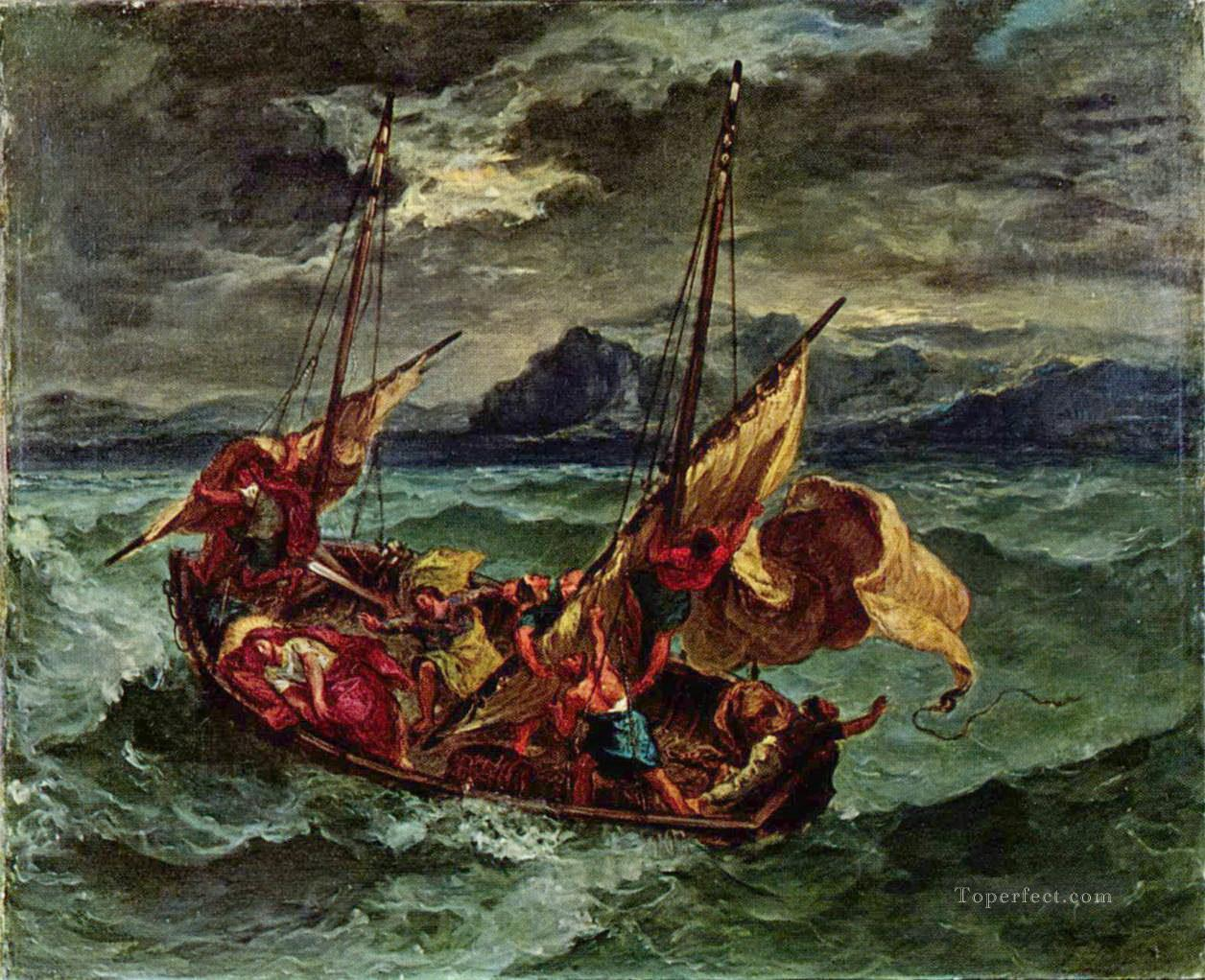 christ on the sea of galilee 1854 Eugene Delacroix Oil Paintings