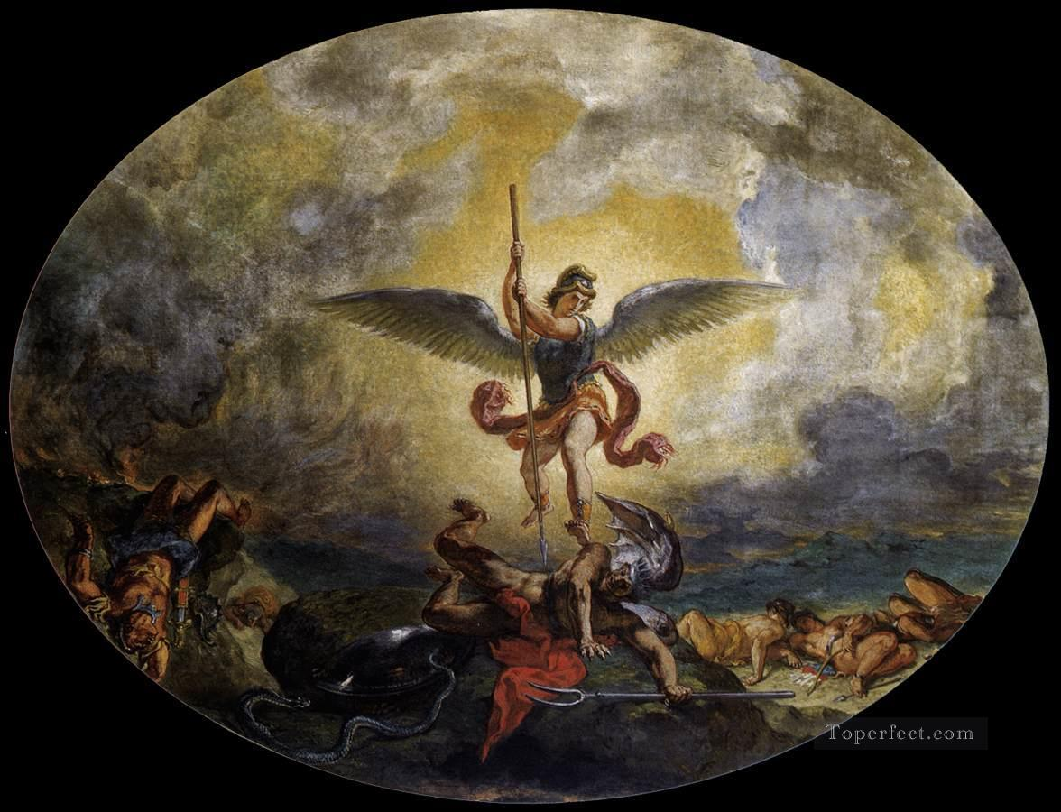 St Michael defeats the Devil Romantic Eugene Delacroix Oil Paintings