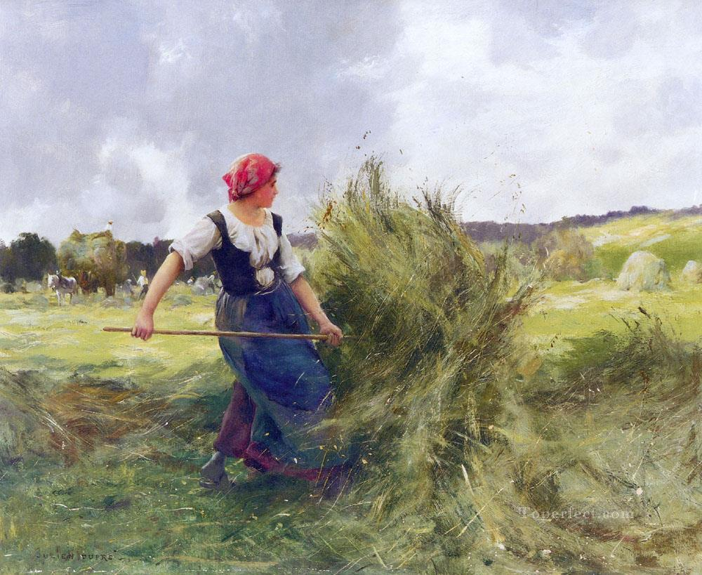 Haymaking farm life Realism Julien Dupre Oil Paintings