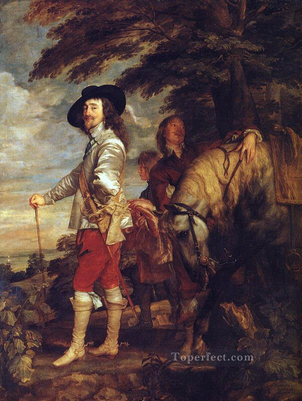 CharlesI King of England at the Hunt Baroque court painter Anthony van Dyck Oil Paintings