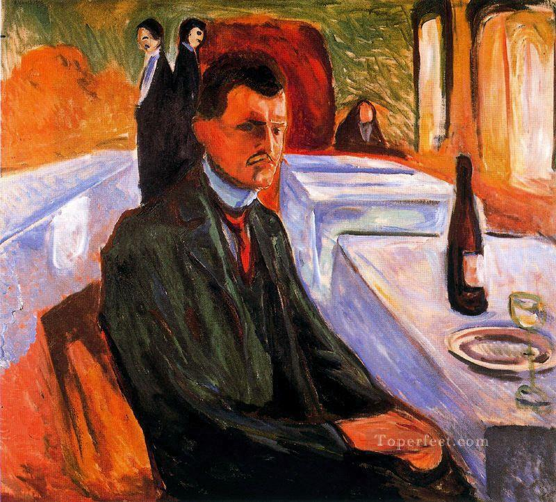 self portrait with bottle of wine 1906 Edvard Munch Oil Paintings