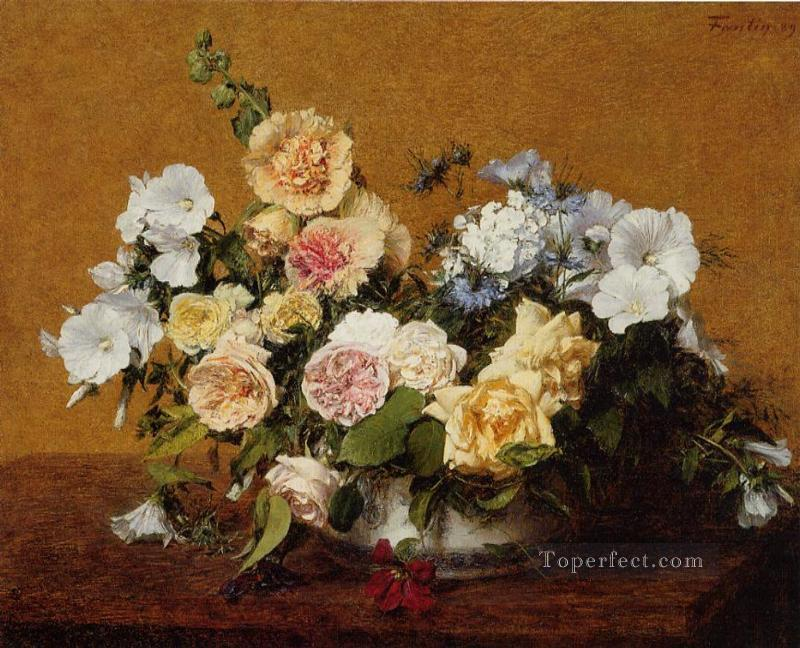 Bouquet of Roses and Other Flowers Henri Fantin Latour Oil Paintings