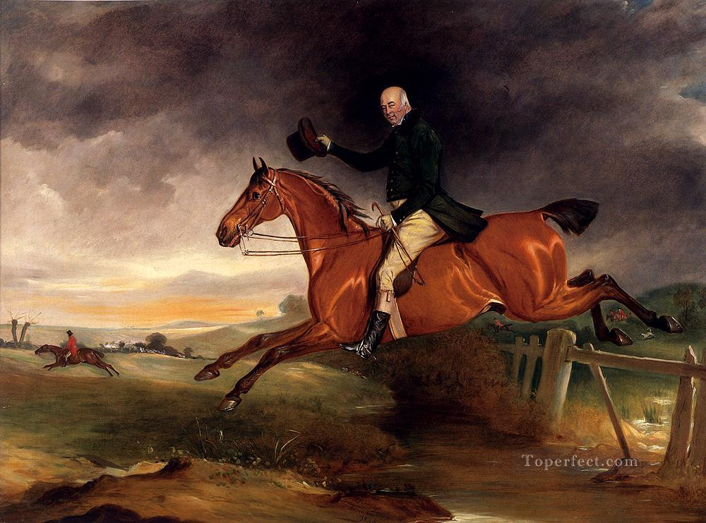 Mr George Marriott On His Bay Hunter Taking A Fence horse John Ferneley Snr Oil Paintings