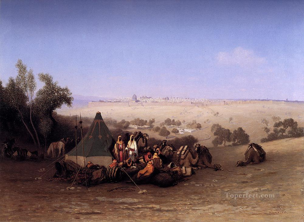 An Arab Encampment On The Mount Olives With Jerusalem Beyond Arabian Orientalist Charles Theodore Frere Oil Paintings