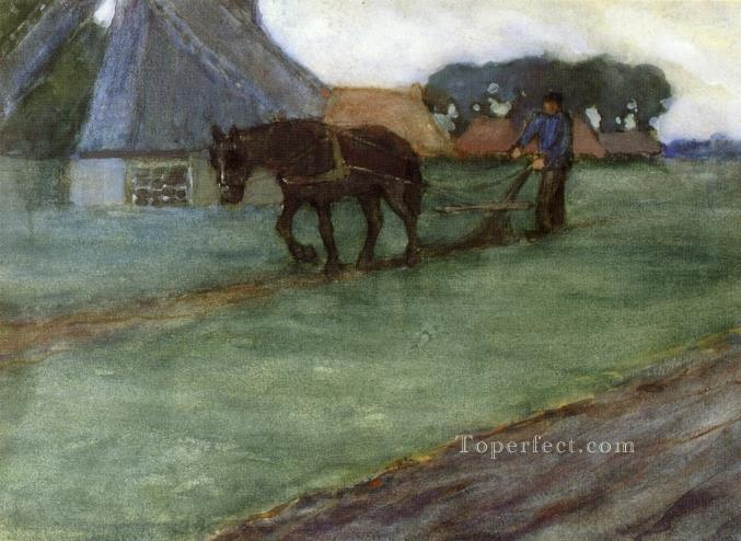 Man Plowing Impressionist horse Frederick Carl Frieseke Oil Paintings