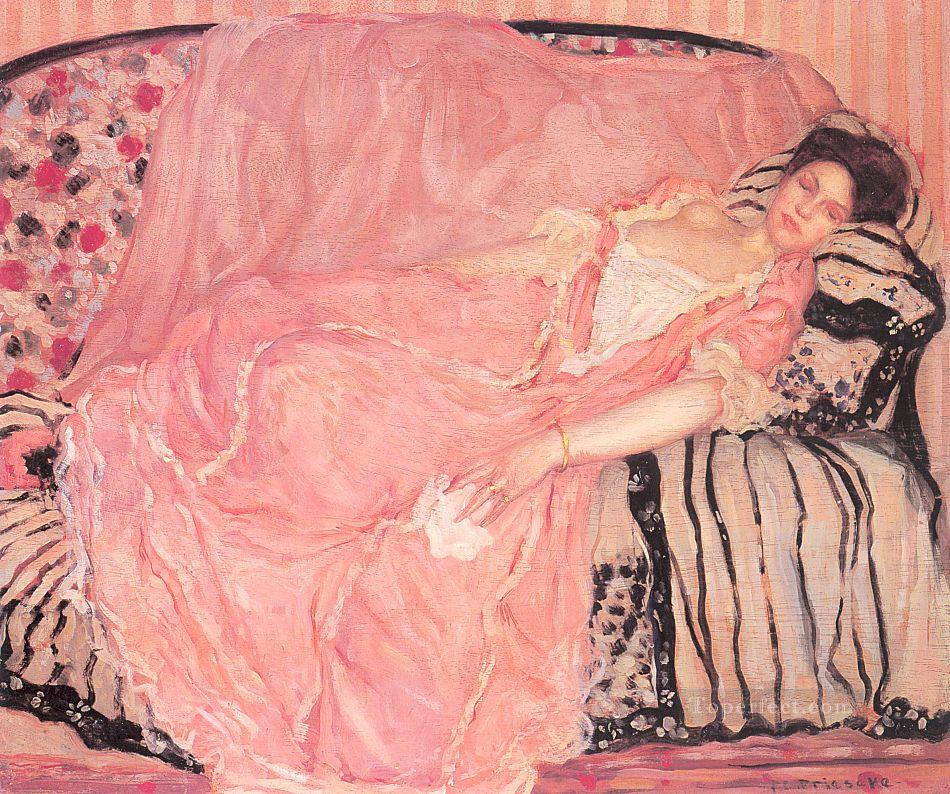 Portrait of Madame Gely On the Couch Impressionist women Frederick Carl Frieseke Oil Paintings