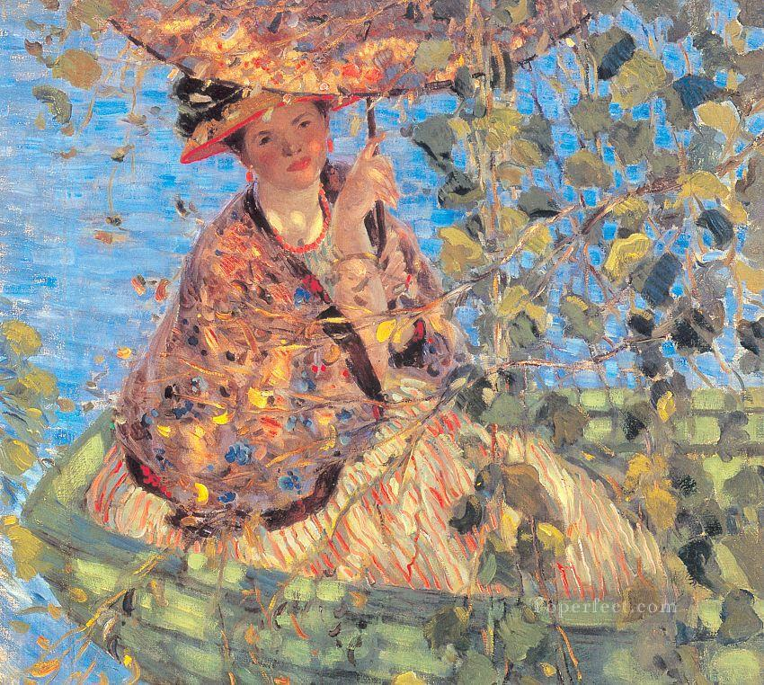 Through the Vines Impressionist women Frederick Carl Frieseke Oil Paintings