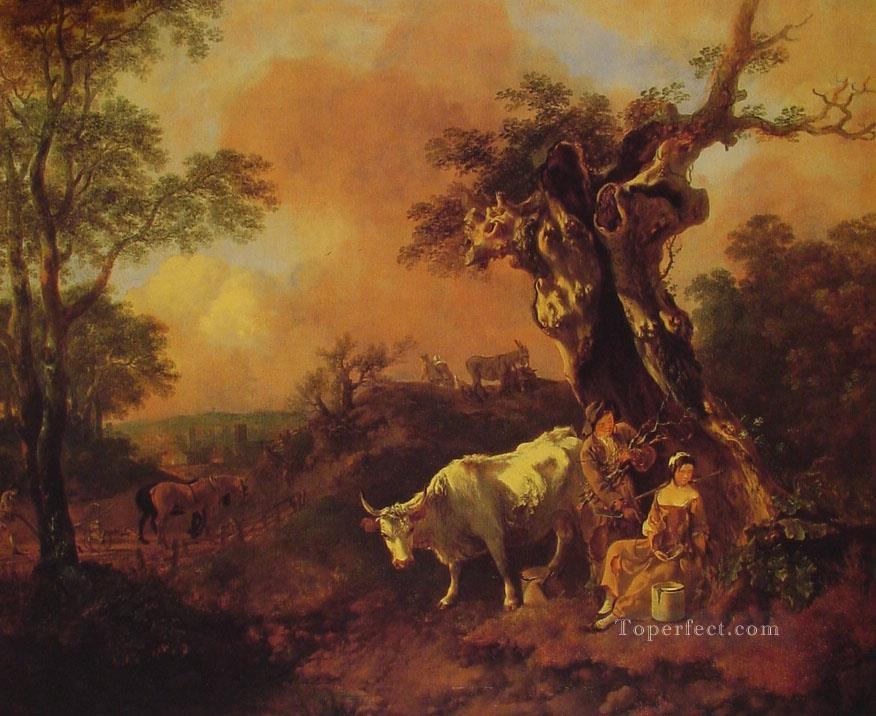Landscape with a Woodcutter and Milkmaid Thomas Gainsborough Oil Paintings