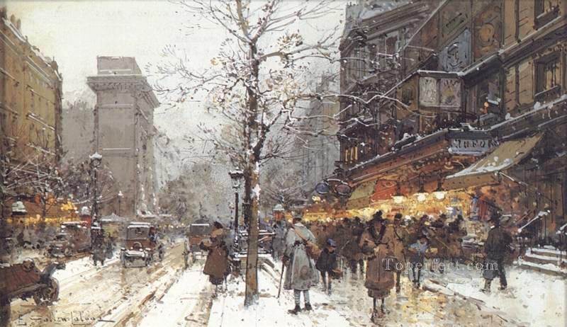 A Busy Boulavard Under Snow Parisian gouache Eugene Galien Laloue Oil Paintings