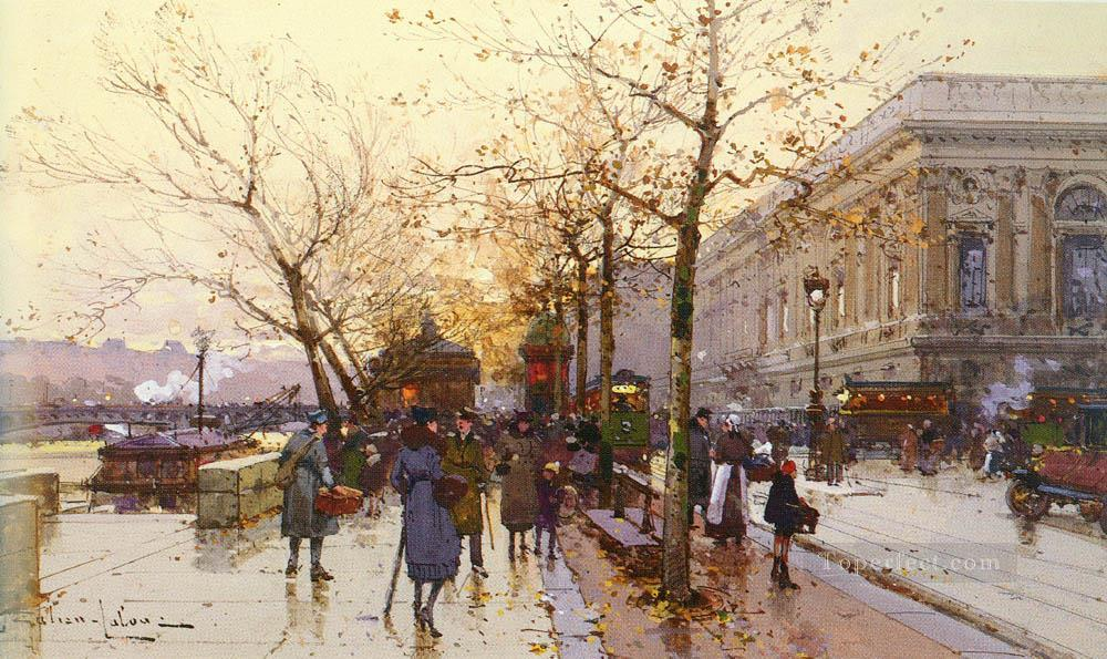 LES QUAIS DE PARIS Parisian gouache Eugene Galien Laloue Oil Paintings