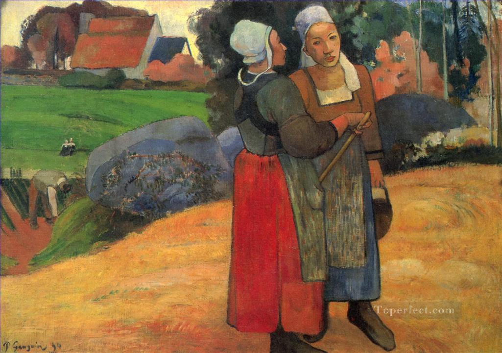Paysannes bretonnes Breton peasant women Post Impressionism Primitivism Paul Gauguin Oil Paintings