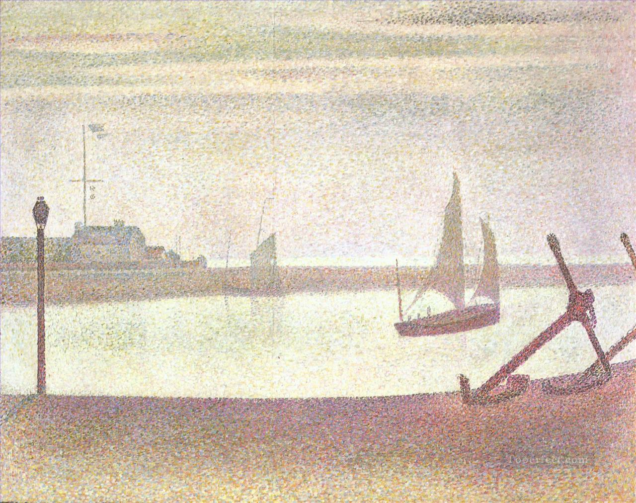 the channel at gravelines evening 1890 Oil Paintings