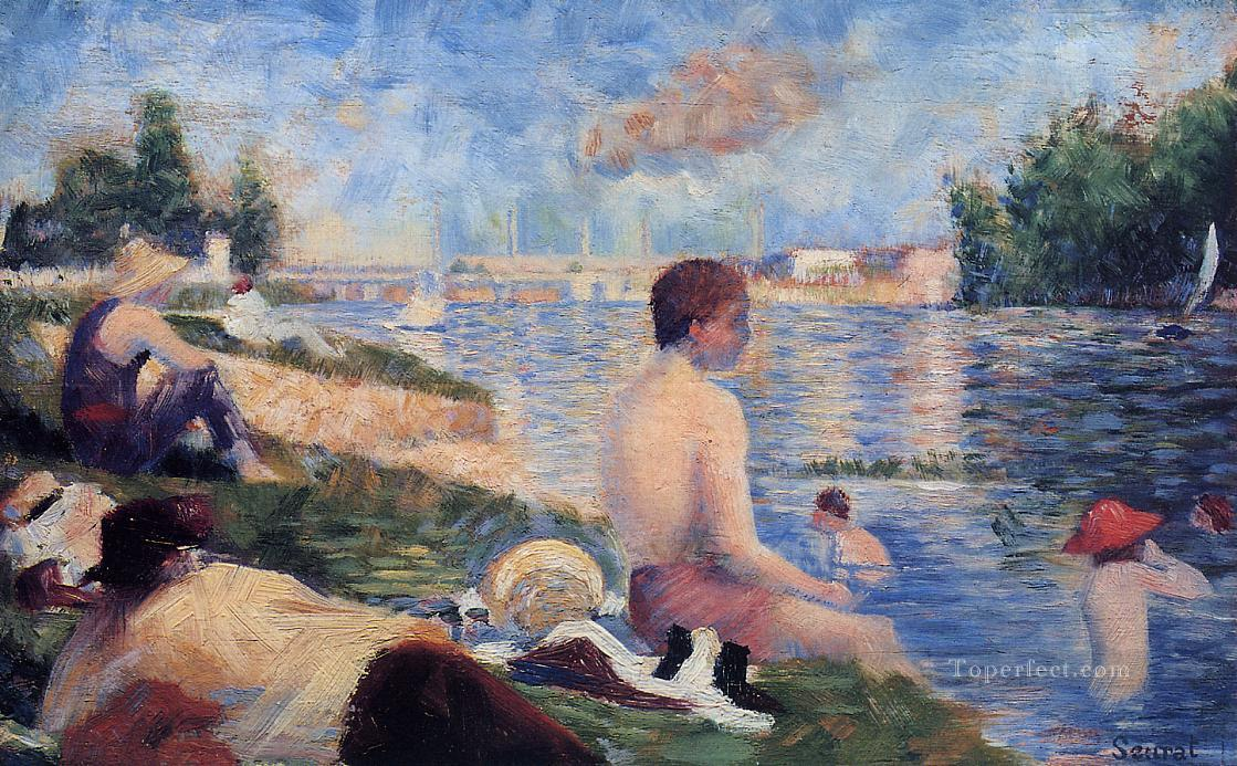 final study for bathing at asnieres 1884 Oil Paintings