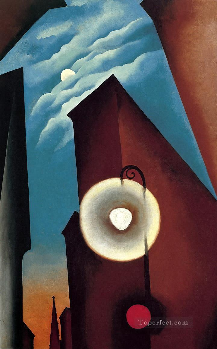 new york street with moon Georgia Okeeffe American modernism Precisionism Oil Paintings